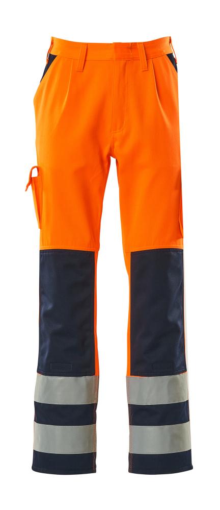 07179-860-141 Broek met kniezakken - hi-vis oranje/marine
