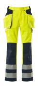09131-470-171 Broek met knie- en spijkerzakken - hi-vis geel/marine