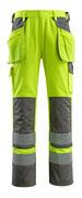 09131-470-17888 Broek met knie- en spijkerzakken - hi-vis geel/antraciet
