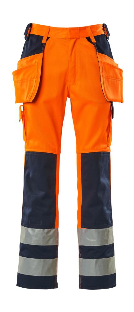 09131-860-141 Broek met knie- en spijkerzakken - hi-vis oranje/marine