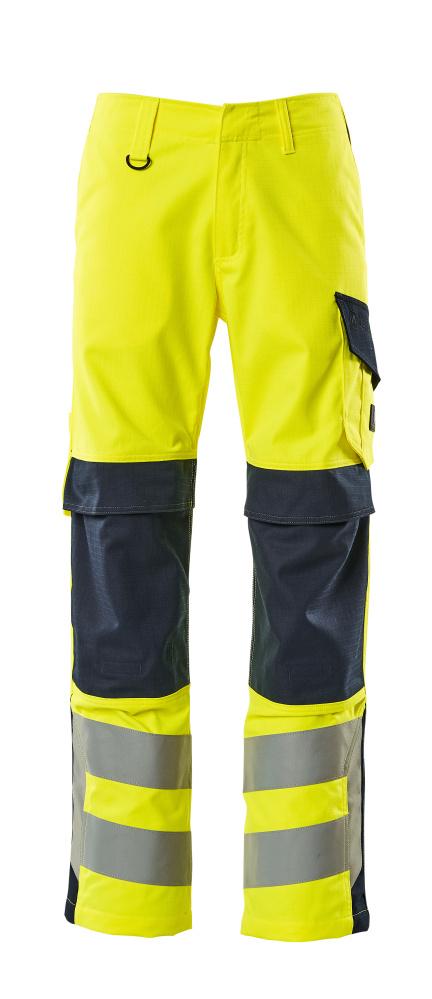 13879-216-17010 Pantalon avec poches genouillères - Hi-vis jaune/Marine foncé
