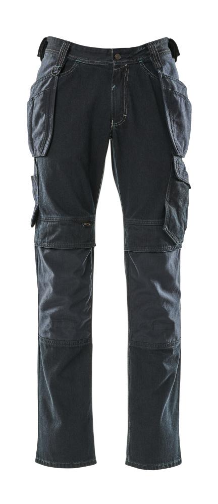 15131-207-86 Jeans met knie- en spijkerzakken - donkerblauw denim
