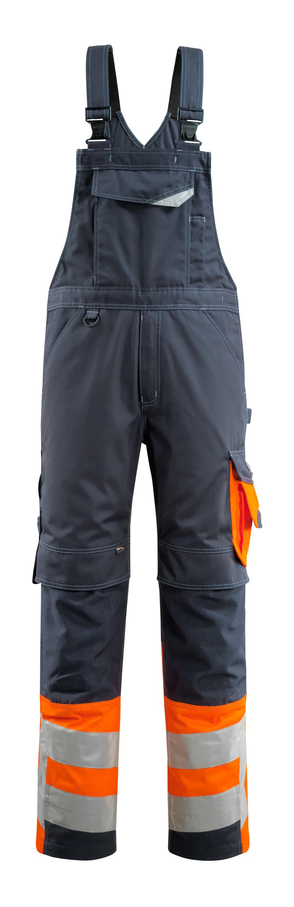 15669-860-01014 Amerikaanse overall met kniezakken - donkermarine/hi-vis oranje