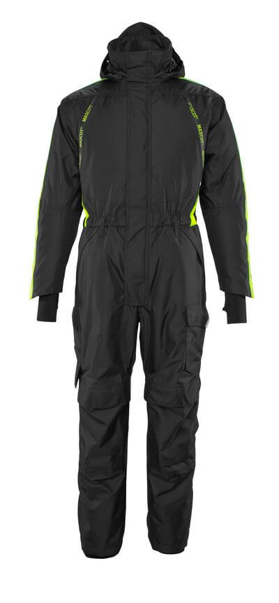 17019-231-0917 Combinaison grand froid avec poches genouillères - Noir/Hi-vis jaune