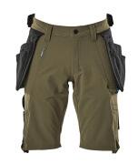 17149-311-33 Shorts met spijkerzakken - mosgroen