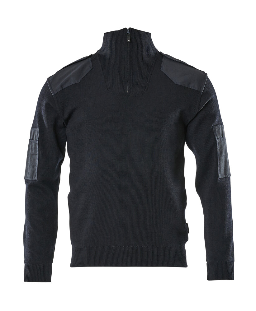 17205-939-010 Gebreide trui met korte rits - donkermarine
