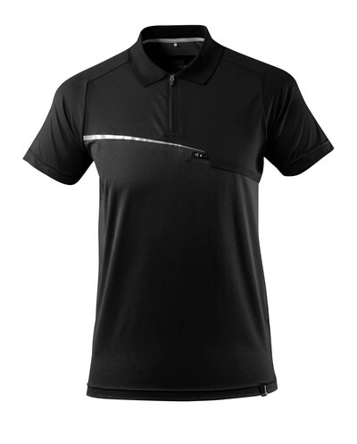 17283-945-09 Poloshirt met borstzak - zwart