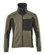 17484-319-3309 Sweatshirt met rits - mosgroen/zwart