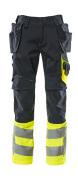 17531-860-01017 Pantalon avec poches genouillères et poches flottantes - Marine foncé/Hi-vis jaune
