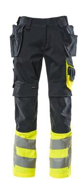 17531-860-01017 Broek met knie- en spijkerzakken - donkermarine/hi-vis geel