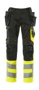 17531-860-0917 Broek met knie- en spijkerzakken - zwart/hi-vis geel