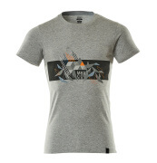19182-965-0814 T-shirt - Gris chiné/Hi-vis orange