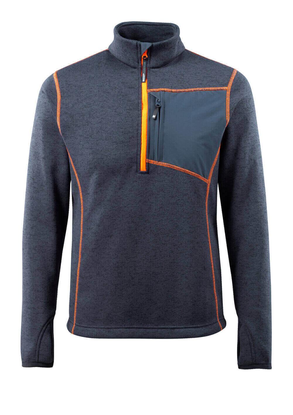 50149-951-010 Gebreide trui met korte rits - donkermarine